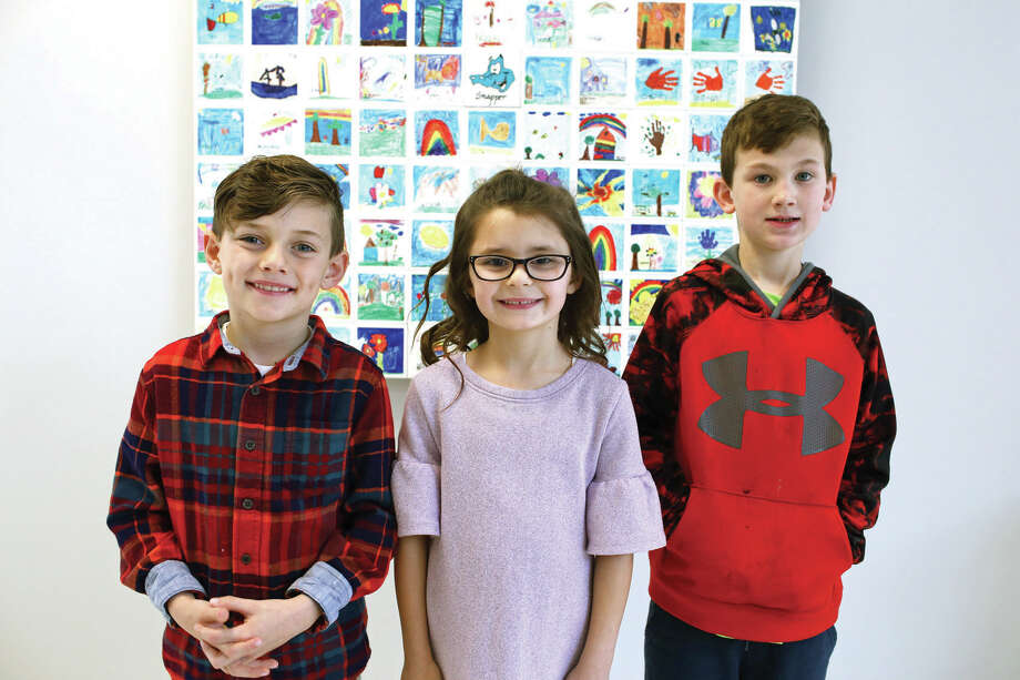 Goshen Elementary School recently honored its Young Authors competition winners. They are, from left: Peter Fusaro, kindergarten, Ava Slater,  first grade and Evan Ousley, second grade. Photo: Marci Winters-McLaughlin • For The Intelligencer