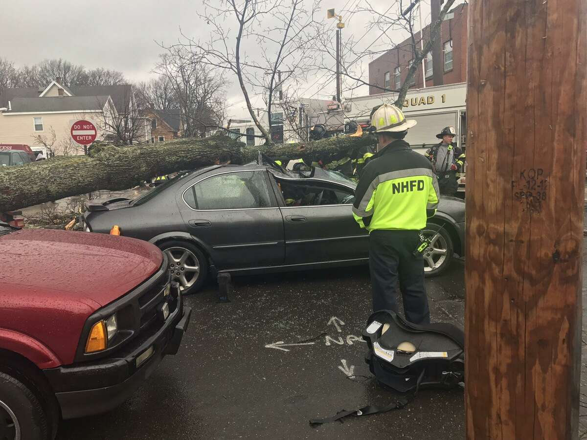 Firefighters extricated a man from his car Friday morning after a tree fell on the vehicle, just feet from the East Battalion Headquarters.