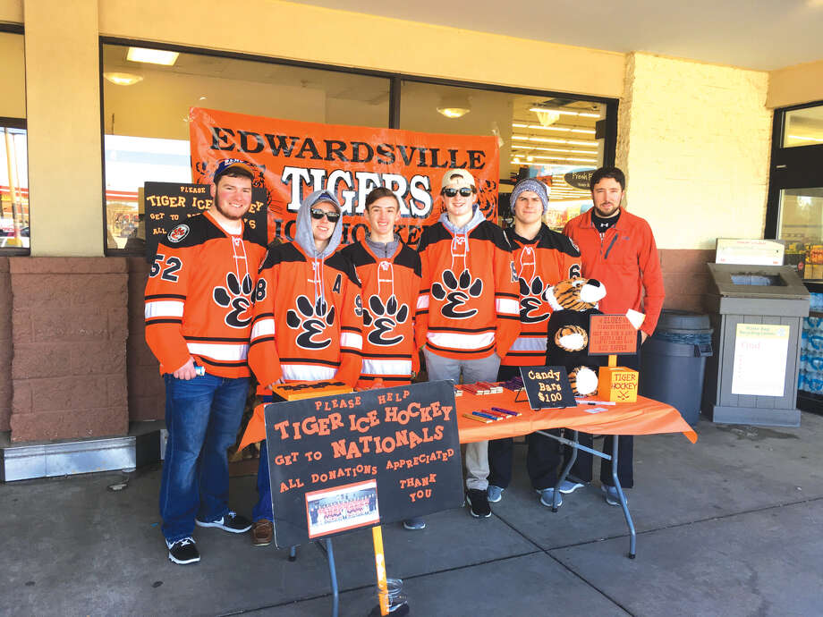 Members of the Edwardsville High School hockey team were out selling candy bars in front of Shop 'n' Save on Sunday. The team is raising funds for a trip to the national tournament, which will be conducted this year March 22 to March 26 in Plymouth, Minn. Photo: Bill Tucker • Btucker@edwpub.net