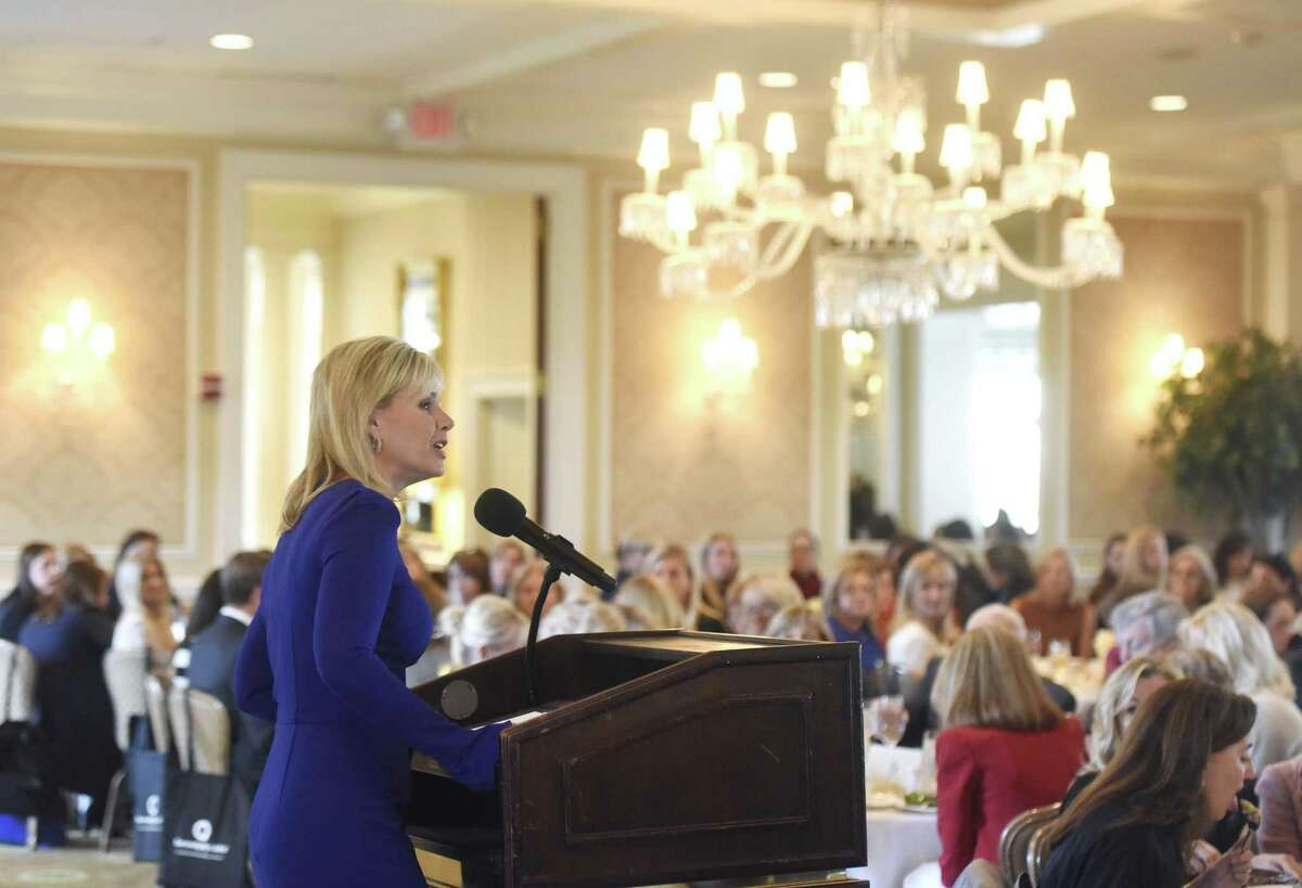 """Gretchen Carlson speaks at a Greenwich Chamber of Commerce luncheon in Greenwich, Conn., while promoting her book """"Be Fierce: Stop Harassment and Take Your Power Back."""""""