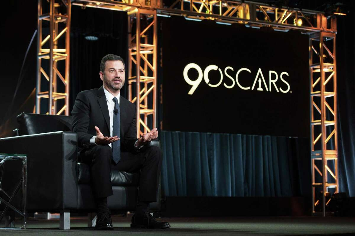Comedian Jimmy Kimmel at a January 2018 forum discussing ABC's March 4 telecast of the Oscars, where the #MeToo movement against sexual harassment will again be front and center for a global audience.