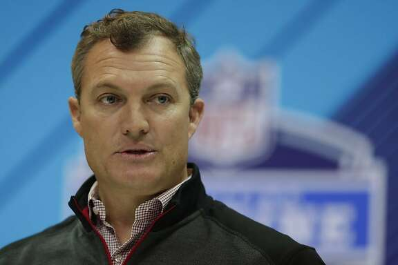 San Francisco 49ers general manager John Lynch speaks during a press conference at the NFL football scouting combine in Indianapolis, Thursday, March 1, 2018. (AP Photo/Michael Conroy)