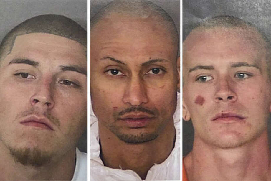 Inmates Eric Trevino, Luis Antonio Arroyo and Jacob Anthony Brownson escaped the Bexar County Jail on Friday, March 2, 2018, according to the Bexar County Sheriff's Office. Photo: Bexar County Sheriff's Office