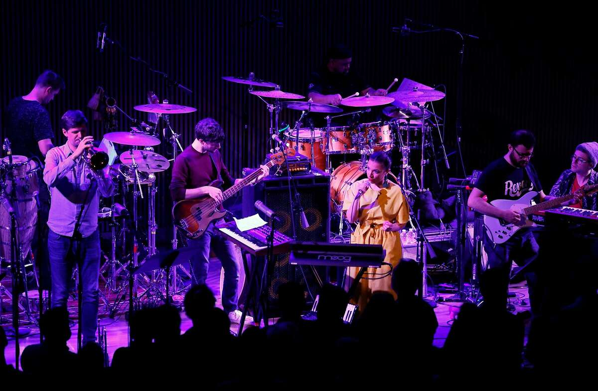 Snarky Puppy performs at the San Francisco Jazz Center with Magda Giannikou of Banda Magda in San Francisco, Calif., on Thursday, March 1, 2018. The Brooklyn-based funk collective won the best contemporary instrumental album at last year's Grammys and features a revolving cast of up to a dozen musicians playing guitars, percussion, horns, keyboards and sometimes strings.