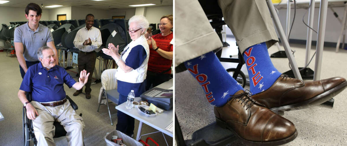 Bush gets out to vote, wearing appropriately patriotic socks, in March 2018.
