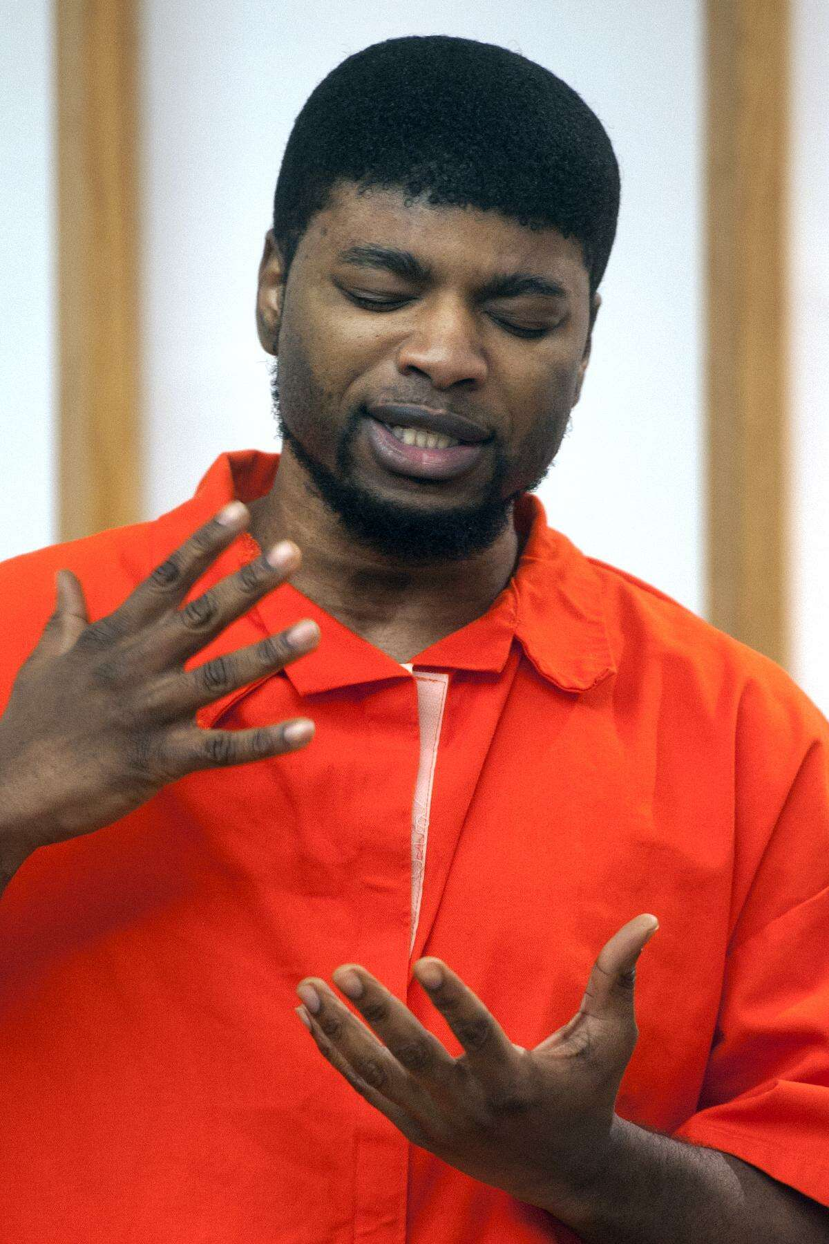 Jermaine Richards speaks during his sentencing in Bridgeport Superior Court, in Bridgeport, Conn. March 2, 2018. Richards was sentenced to 60-years for the 2013 murder of Alyssiah Marie Wiley.