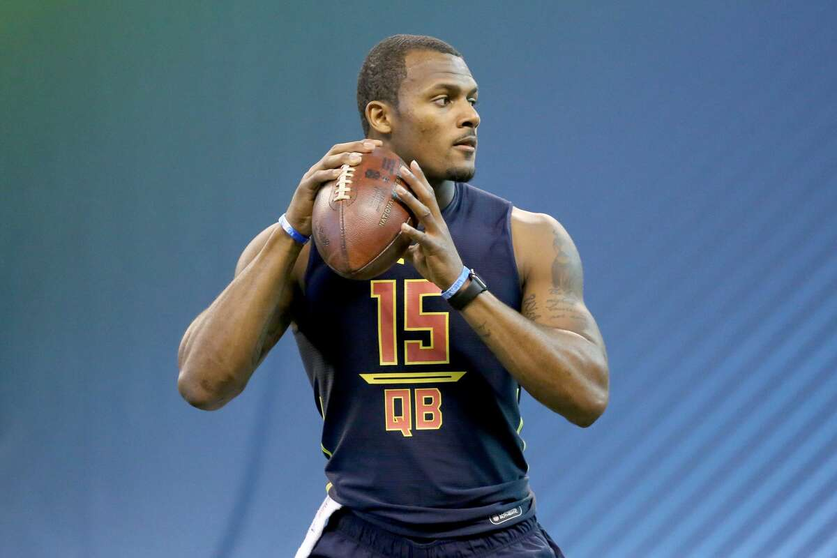 Deshaun Watson  QB, Clemson  2017 NFL Draft  Round 1, No. 12 overall (Texans)  2017 NFL scouting combine  40-yard dash - 4.66  Bench press - N/A  Vertical jump - 32.5  Broad jump - 119.0  3-cone drill - 6.95  20-yard shuttle - 4.31