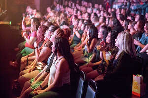 """A parade of San Antonio women headed to the Aztec Theatre on Thursday, March 1, 2018, to watch Magic Men Live take the stage. The male dance revue is billed as equal parts """"Magic Mike"""" and """"Fifty Shades of Grey."""""""