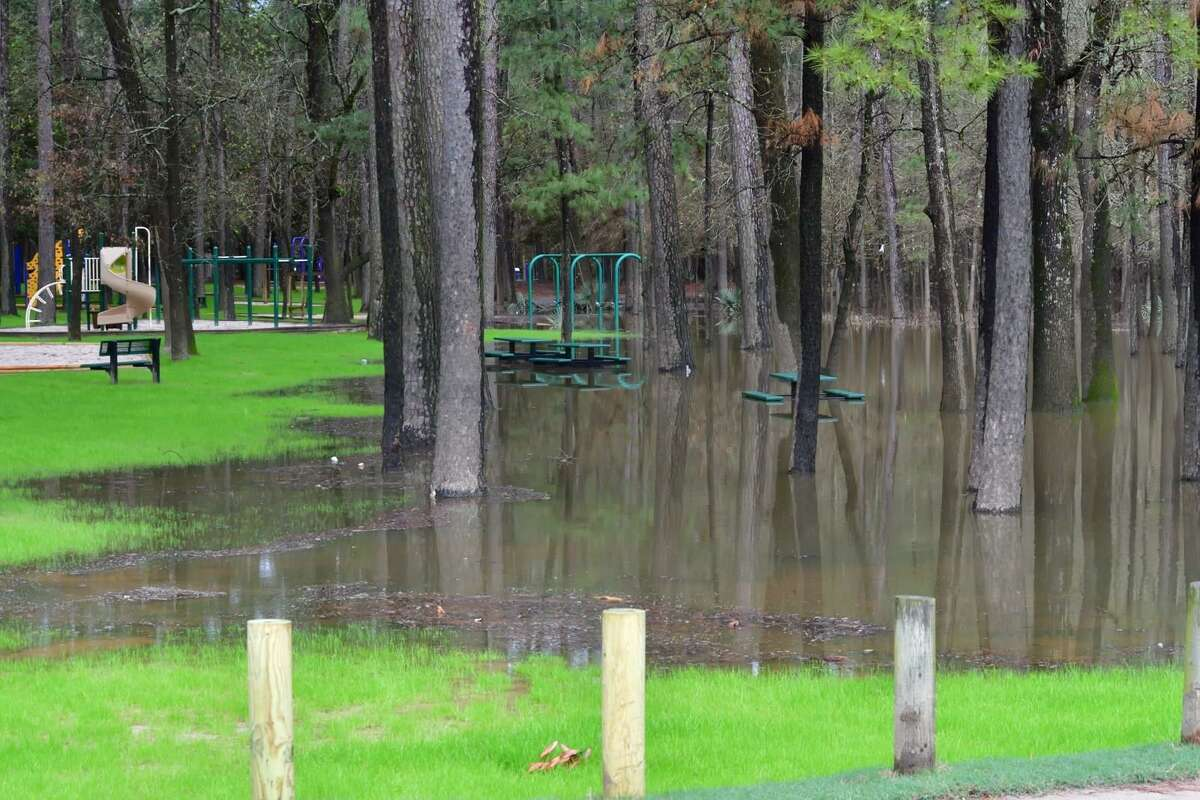 Harvey-related recovery projects for Kingwood's parks are wrapping-up as of early June. Pictured here: Water stands in River Grove Park in Kingwood after the San Jacinto River spilled out of its banks Feb. 26.