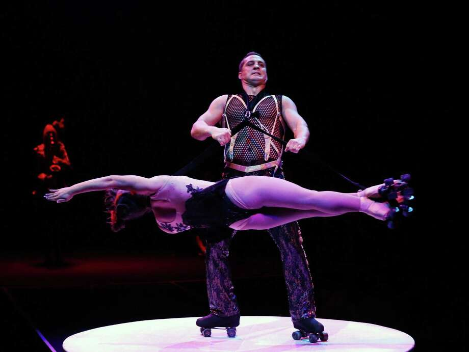 "Stunts can see to defy gravity in the ""Cirque Dreams Revealed"" show at Mohegan Sun Arena March 10 and 11. Photo: Mohegan Sun / Contributed Photo / Tom Briglia/PhotoGraphics © All rights"