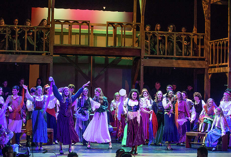 "A colorful scene from Class Act Production's ""The Hunchback of Notre Dame."" According to David Dow Bentley III, the took on a challenge and suceeded on a grand scale."