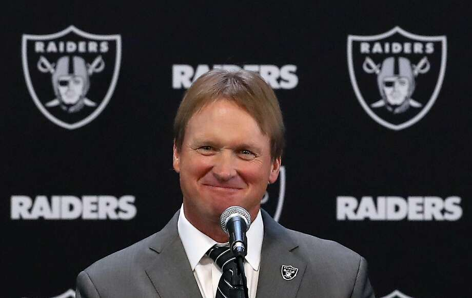 ALAMEDA, CA - JANUARY 09:  Oakland Raiders new head coach Jon Gruden speaks during a news conference at Oakland Raiders headquarters on January 9, 2018 in Alameda, California. Jon Gruden has returned to the Oakland Raiders after leaving the team in 2001.  (Photo by Justin Sullivan/Getty Images) Photo: Justin Sullivan / Getty Images