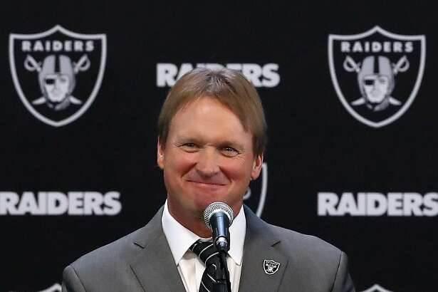 ALAMEDA, CA - JANUARY 09:  Oakland Raiders new head coach Jon Gruden speaks during a news conference at Oakland Raiders headquarters on January 9, 2018 in Alameda, California. Jon Gruden has returned to the Oakland Raiders after leaving the team in 2001.  (Photo by Justin Sullivan/Getty Images)