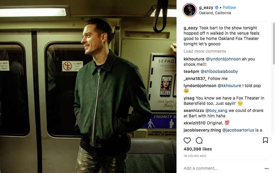 G-Eazy took BART to his sold-out show at the Fox Theater in Oakland on March 1, 2017. Photo: Twitter Screen Grab