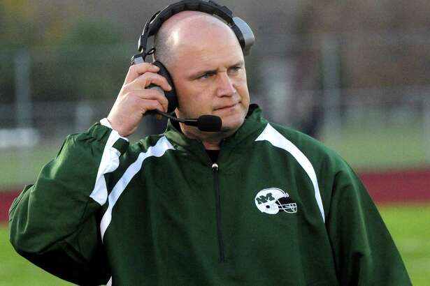 New Milford Head Coach Chuck Lynch as Oxford plays at New Milford Monday, Oct. 22, 2012.