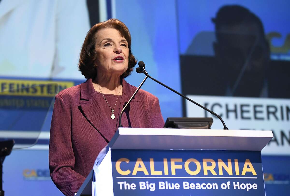 Sen. Dianne Feinstein, D-Calif. speaks at the 2018 California Democrats State Convention Saturday, Feb. 24, 2018, in San Diego.