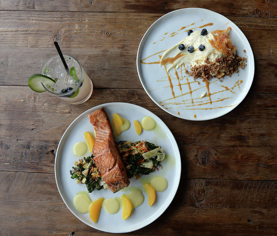 A blueberry mojito, salmon and veggie crunch and goat cheese cheesecake are among the dining options at Green Light Americana, which recently opened in the Westmont shopping plaza on Phelan Boulevard. The restaurant features a number of fine dining options, sandwiches, salads, homemade desserts and a beer and cocktail menu. Photo taken Friday, February 23, 2018 Kim Brent/The Enterprise Photo: Kim Brent / BEN