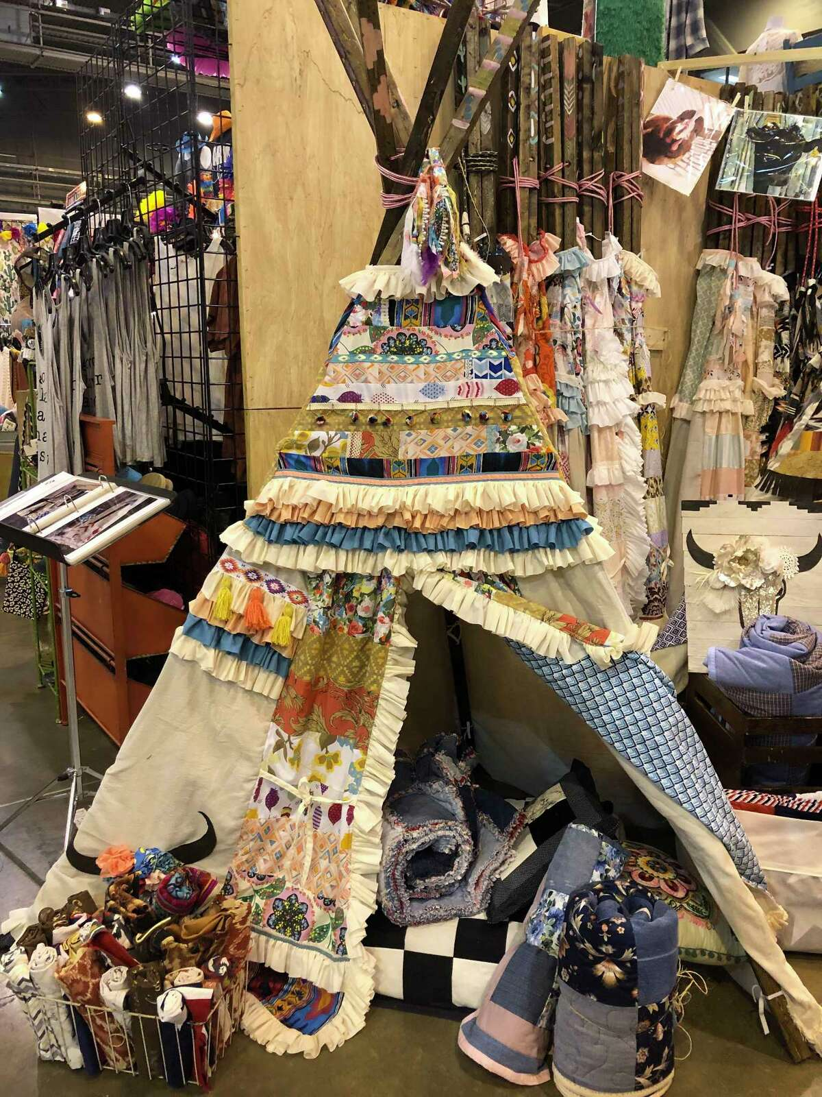 Jodi HatfieldÂ?'s dolly estelle teepees in the Cowboy Crossing shopping area at NRG Center at the 2018 Houston Livestock Show and Rodeo.