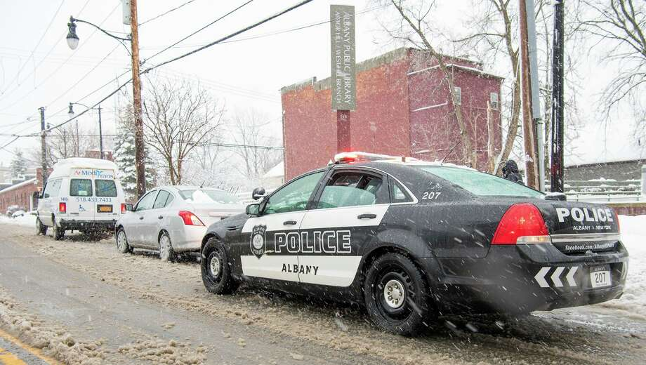 An Albany police officer on patrol during the snow storm on March 2, 2018. Photo: Steve Smith, Albany Police Department