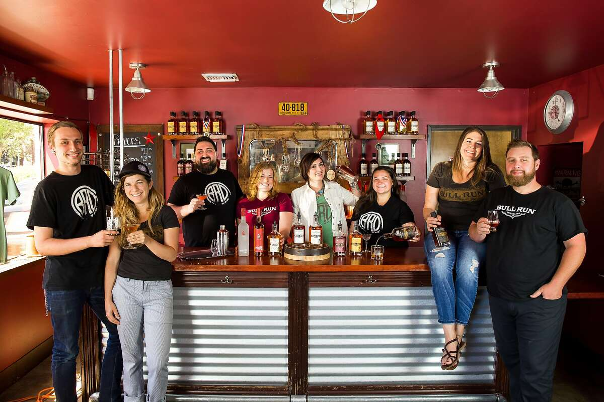 Bull Run Distilling Company makes whiskey from local grains, aged in Oregon wood in a Portland warehouse.