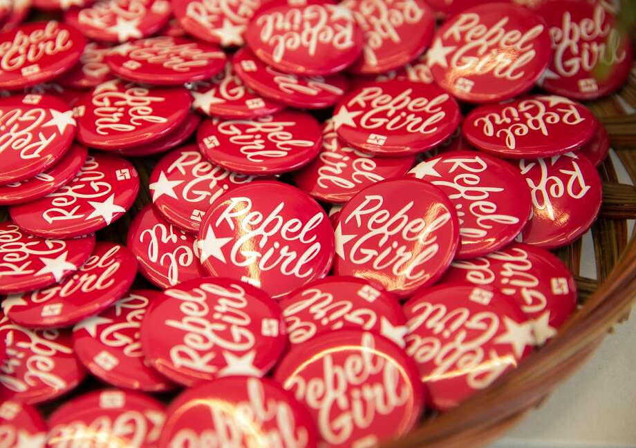 Buttons honor RoseAnn DeMoro during her retirement party in Oakland. Photo: Jessica Christian, The Chronicle