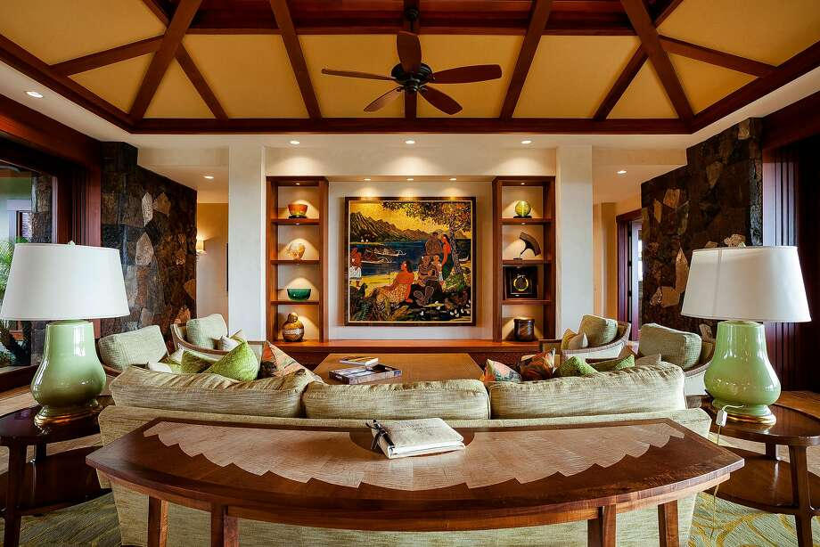 The living room of 72-415 Kaupulehu St., which is for sale for $14.9 million. Photo: Courtesy Hualalai Resort