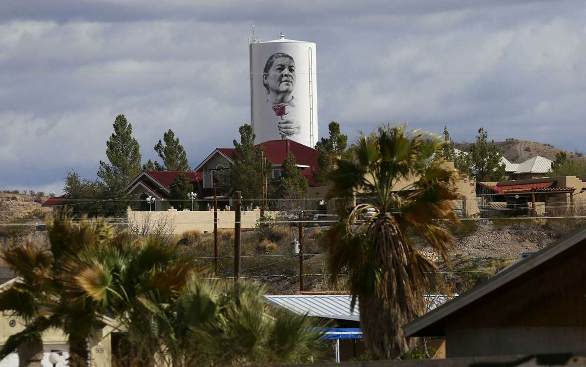 This is a water tower (top, center) in Presidio, Texas near the Mexican border that artist Miles MacGregor, also known as
