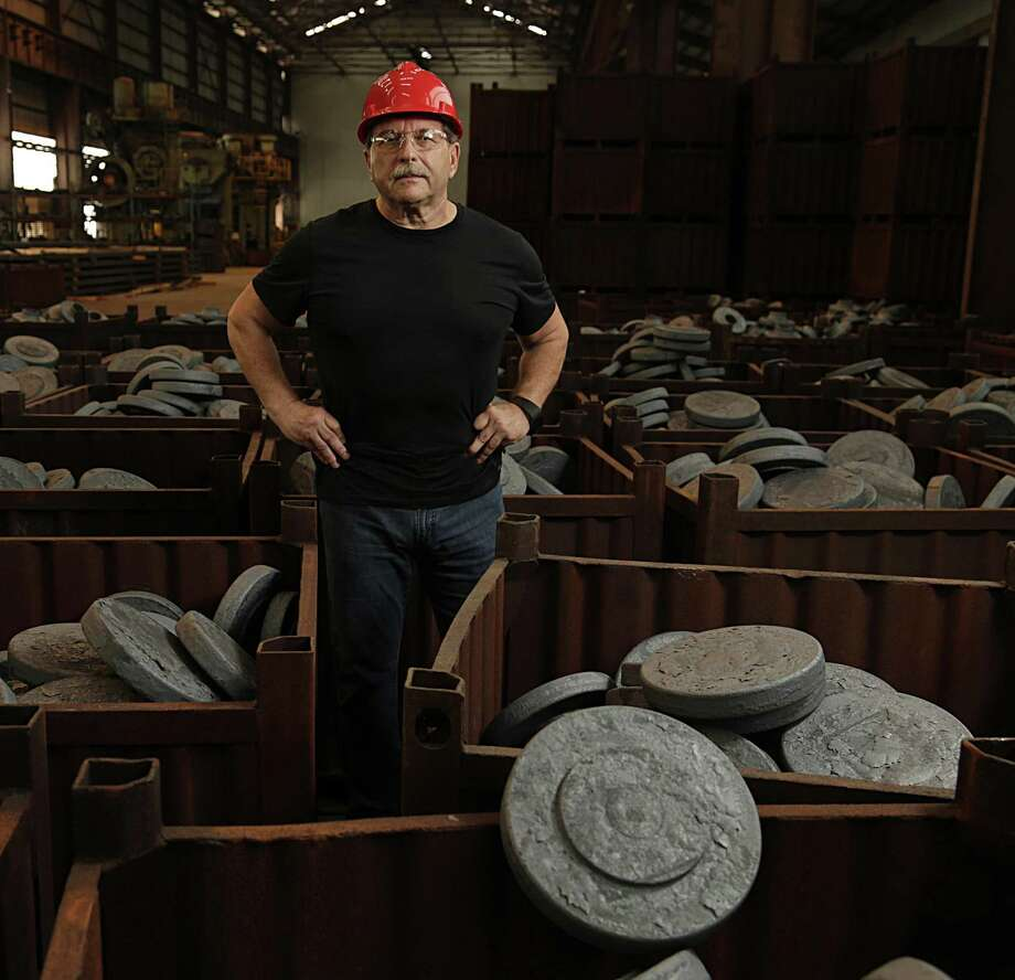 Boltex Manufacturing President Frank Bernobich poses for a portrait in front of bins of flange forgings at one of the company's manufacturing facilities Aug. 16, 2016, in Houston. ( James Nielsen / Houston Chronicle ) Photo: James Nielsen, Staff / Houston Chronicle / © 2016  Houston Chronicle
