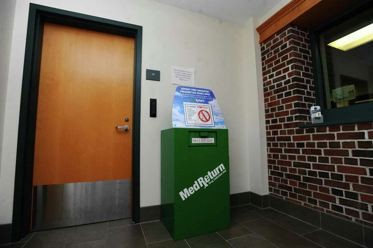 The medication drop box inside the Darien Police Station in Darien, Conn. on Wednesday, Feb. 28, 2018.