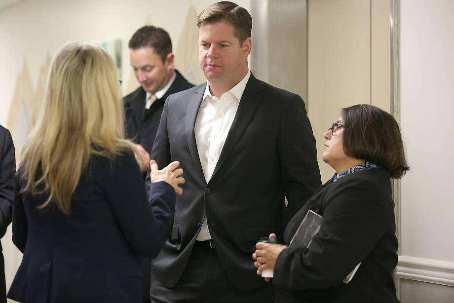 Mayor Mark Farrell (center) talks with Patty Blum of Crestwood Behavioral Health (left) and Barbara Garcia, chief of the city's Department of Public Health, during a tour of the Crestwood Healing Center. Photo: Liz Hafalia, The Chronicle