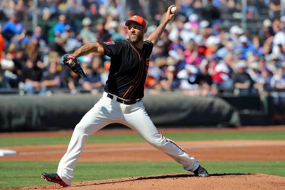 SCOTTSDALE, AZ - FEBRUARY 25:  Madison Bumgarner #40 of the San Francisco Giants pitches during a game against the Chicago Cubs on Sunday, February 25, 2018 at Scottsdale Stadium in Scottsdale, Arizona.  (Photo by Alex Trautwig/MLB Photos via Getty Images)