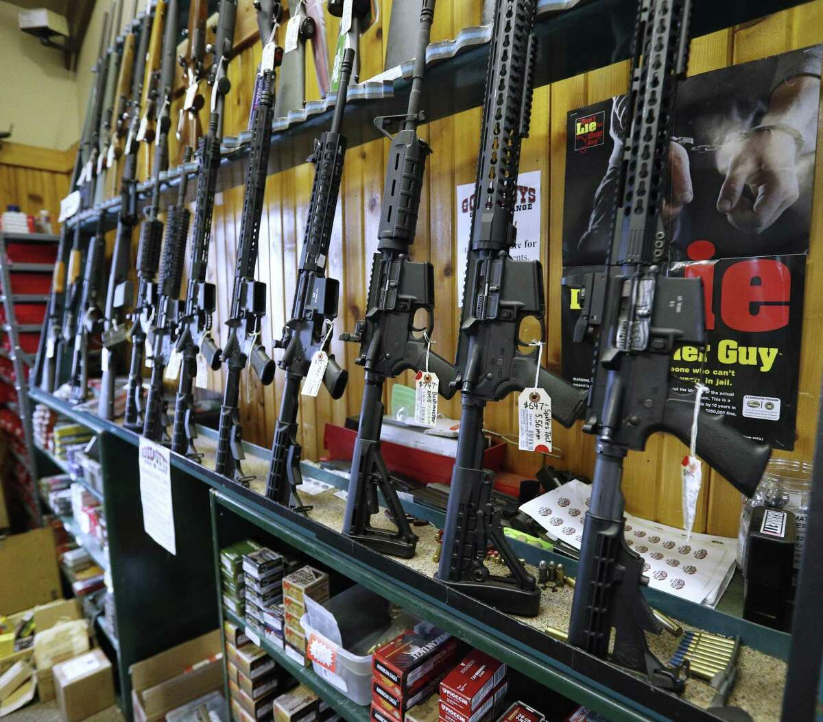 Semi-automatic AR-15's are for sale in Orem, Utah. In a Maryland case, the Supreme Court refused to hear a legal challenge to the state's ban on military style assault weapons.