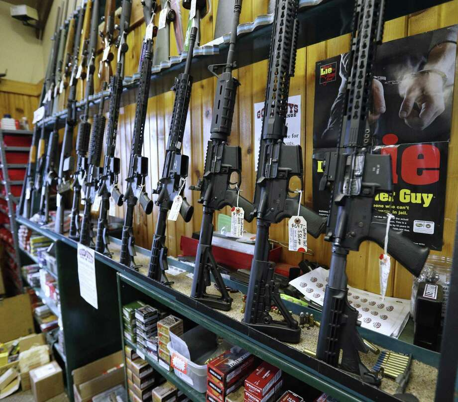 Semi-automatic AR-15's are for sale in Orem, Utah. In a Maryland case, the Supreme Court refused to hear a legal challenge to the state's ban on military style assault weapons. Photo: George Frey /Getty Images / 2018 Getty Images