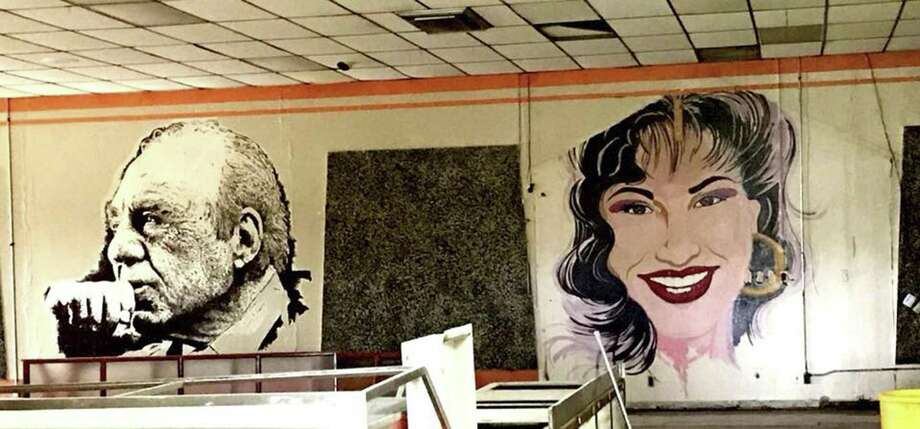 Two of the three large-scale murals of iconic U.S. Latino figures adorned the now-closed Estelas Mexican Restaurant on the city's West Side. They have been erased by the buildings new owner, Delgado Funeral Home. Featured here are Tejano star Selena Quintanilla; and and longtime U.S. Rep. Henry B. Gonzalez. Not shown is a mural of Grammy Award-winning musician Flaco Jimenez. Photo: Courtesy Louis Escareno /Courtesy Louis Escareno / Louis Escareno