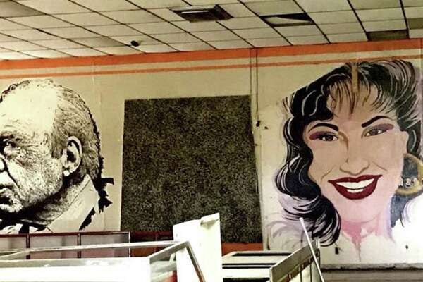 Two of the three large-scale murals of iconic U.S. Latino figures adorned the now-closed Estelas Mexican Restaurant on the city's West Side. They have been erased by the buildings new owner, Delgado Funeral Home. Featured here are Tejano star Selena Quintanilla; and and longtime U.S. Rep. Henry B. Gonzalez. Not shown is a mural of Grammy Award-winning musician Flaco Jimenez.