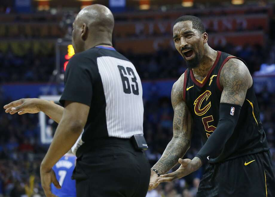 Cleveland Cavaliers guard J.R. Smith (5) complains about a call to official Derek Richardson (63) during the second half of the team's NBA basketball game against the Oklahoma City Thunder in Oklahoma City, Tuesday, Feb. 13, 2018. (AP Photo/Sue Ogrocki) Photo: Sue Ogrocki, Associated Press
