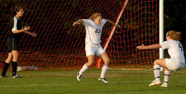 Burnt Hills' Jillian Beatty celebrates one of  her two goals against Bethlehem. (Luanne M. Ferris / Times Union) Photo: LMF / 00005599A