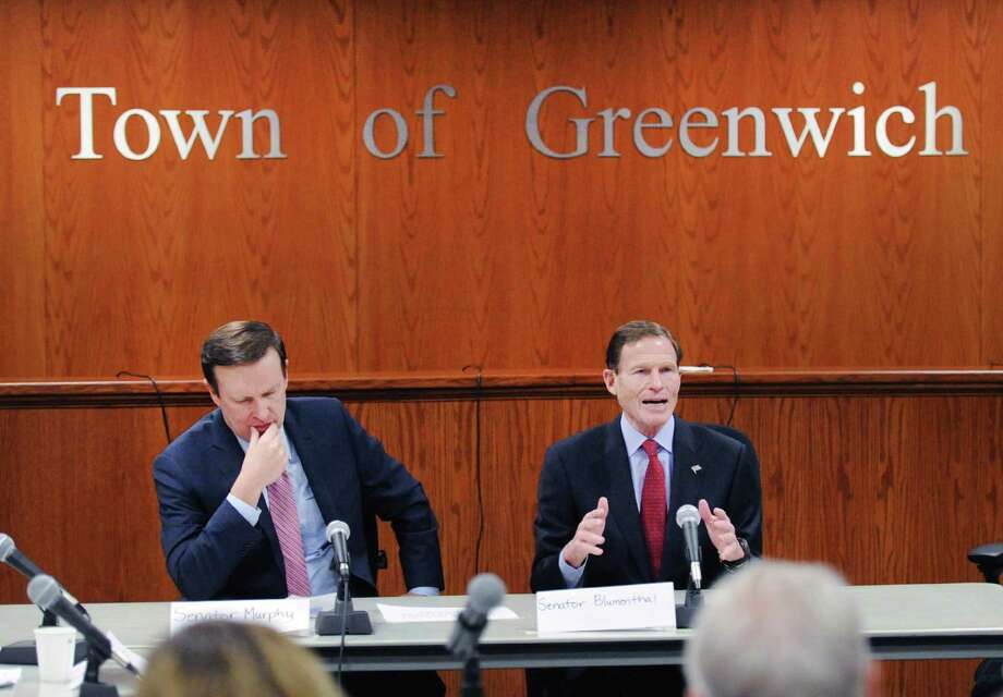 "U.S. Senators Chris Murphy, left, and Richard Blumenthal, both of Connecticut, hosted the public forum ""Roundtable Discussion on Gun Violence"" at Greenwich Town Hall, Conn., Friday, March 2, 2018. Photo: Bob Luckey Jr. / Hearst Connecticut Media / Greenwich Time"