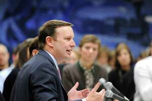 """U.S. Senator Chris Murphy of Connecticut during the public forum """"Roundtable Discussion on Gun Violence"""" at Greenwich Town Hall, Conn., Friday, March 2, 2018."""