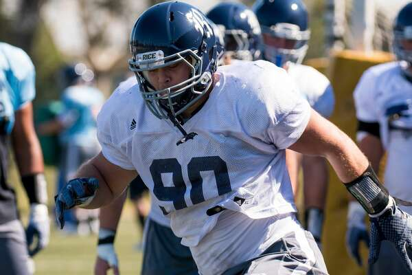 SYDNEY, NSW - AUGUST 23: Rice Owls defensive end Blain Padgett (90) at Rice Owls open practice day on August 23, 2017, in Sydney, Australia. (Photo by Steven Markham/Icon Sportswire via Getty Images)