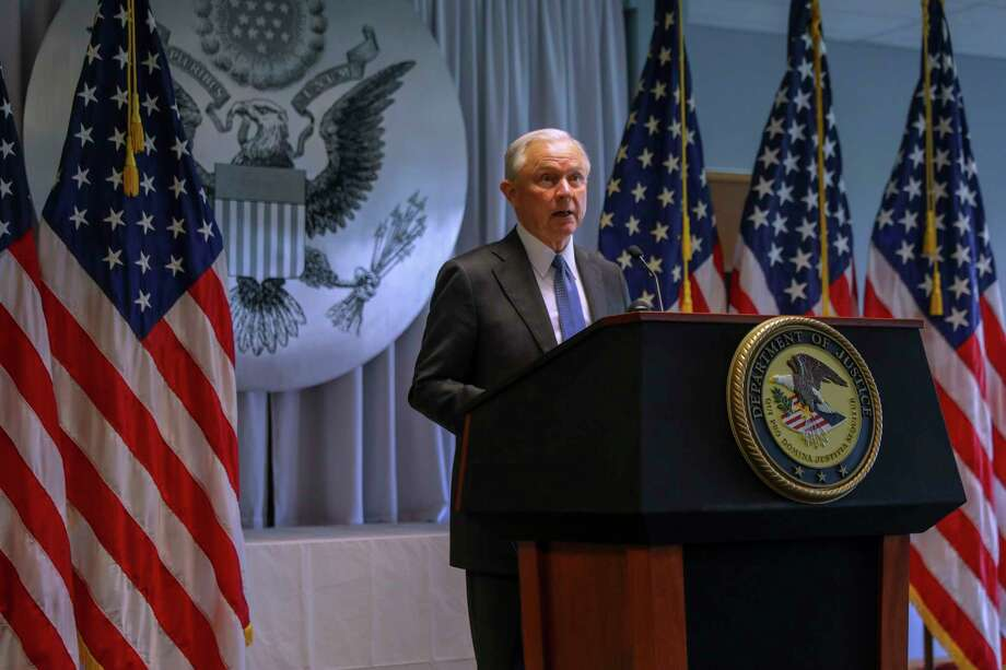 FILE-- Attorney General Jeff Sessions addresses federal, state and local law enforcement about efforts to combat gang violence and other crimes, at the Alfonse M. D'Amato Courthouse in Central Islip, N.Y., April 28, 2017. The transnational MS-13 gang is a bit player compared with drug cartels, but its violence has helped the Trump administration sell its campaign against immigration. (Chang W. Lee/The New York Times) Photo: CHANG W. LEE / NYTNS