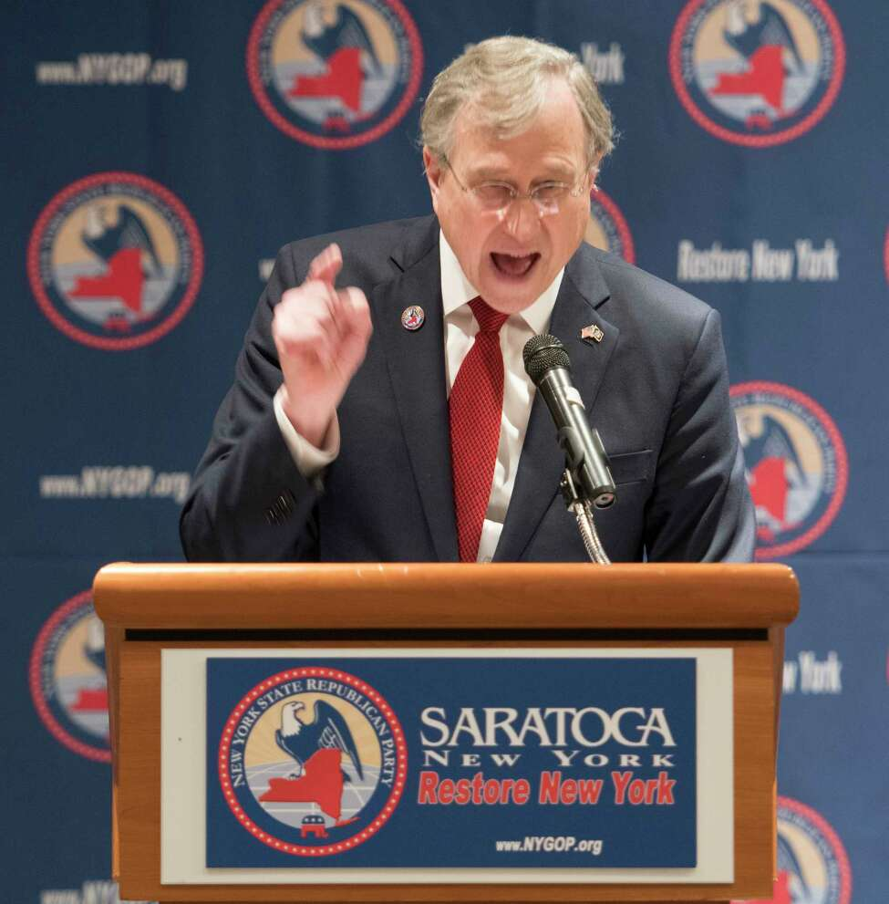 State GOP Chair Ed Cox gives a fiery speech to open the New York State GOP convention at the Holiday Inn Friday March, 2 2018 Saratoga Springs, N.Y. (Skip Dickstein/Times Union)