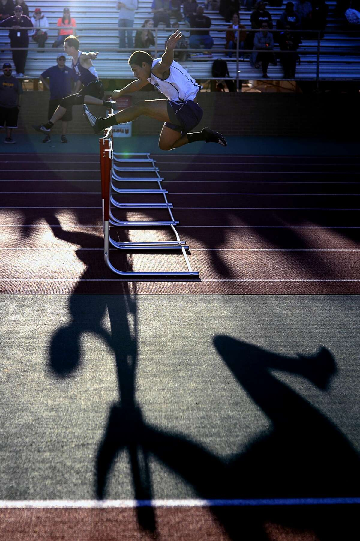 Hurdling event during the Tall City Invitational track meet March 2, 2018, at Memorial Stadium. James Durbin/Reporter-Telegram