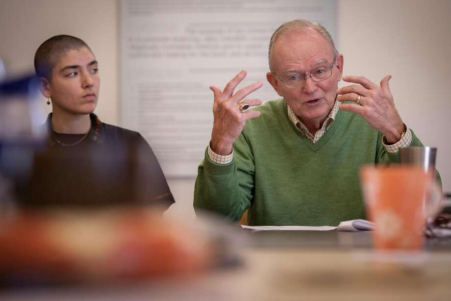 Bishop William Swing attends a staff meeting of the United Religions Initiative. Photo: Peter DaSilva