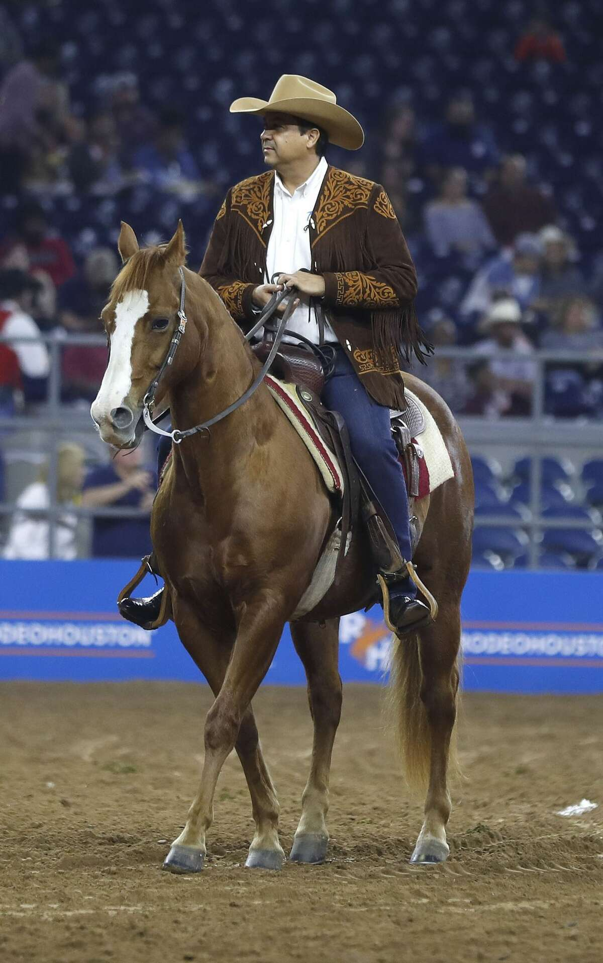 Francisco Javier García Cabeza de Vaca, Governor of Tamahlipas rides in the Grand Entry at the Houston Livestock Show and Rodeo at NRG Stadium, Friday, March 2, 2018, in Houston. ( Karen Warren / Houston Chronicle )