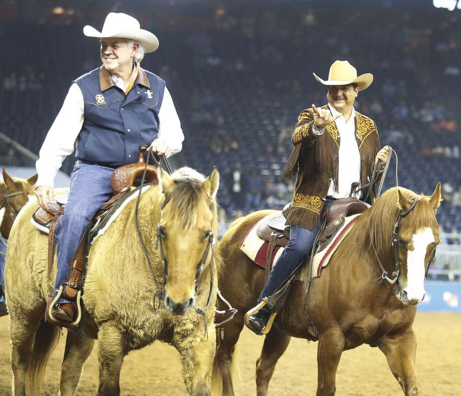 Francisco Javier García Cabeza de Vaca, Governor of Tamahlipas rides in the Grand Entry at the Houston Livestock Show and Rodeo at NRG Stadium, Friday, March 2, 2018, in Houston.  ( Karen Warren / Houston Chronicle ) Photo: Karen Warren/Houston Chronicle