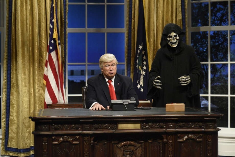 "Alec Baldwin, left, plays President Donald Trump alongside ""Steve Bannon"" during the cold open of ""Saturday Night Live"" on Feb. 4. MUST CREDIT: Will Heath - NBC. Photo: Will Heath - NBC / The Washington Post"