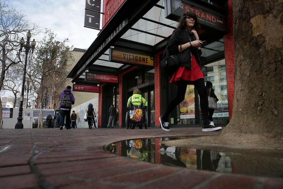 The Mid-Market neighborhood where ACT's Strand Theater sits is one that the late Mayor Ed Lee was intent on improving and is still in need of attention. Photo: Michael Macor, The Chronicle