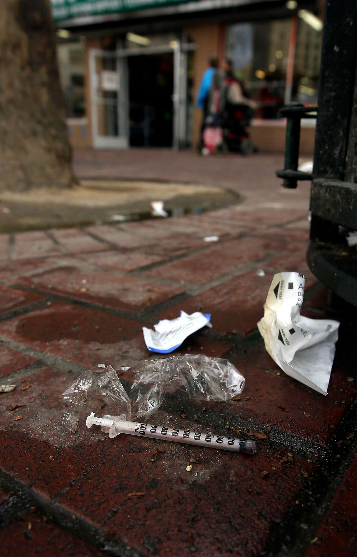 A used syringe one door down from the American Conservatory Theater in San Francisco, Calif., seen on Wednesday Feb. 14, 2018. The A.C.T. faces quality of life issues with it's location in the heart of Market st. between 7th and 8th streets.