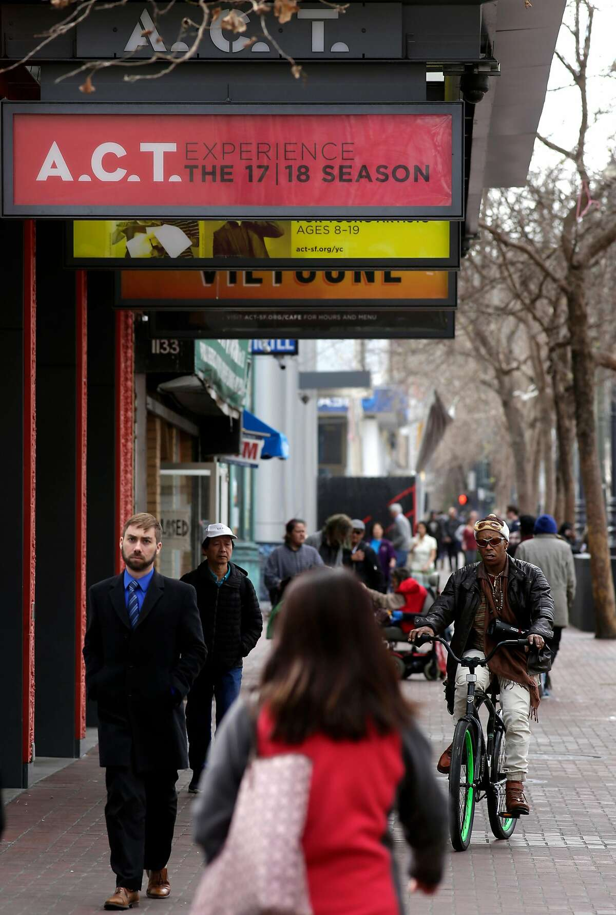 The American Conservatory Theater in San Francisco, Calif., seen on Wednesday Feb. 14, 2018. The A.C.T. faces quality of life issues with it's location in the heart of Market st. between 7th and 8th streets.